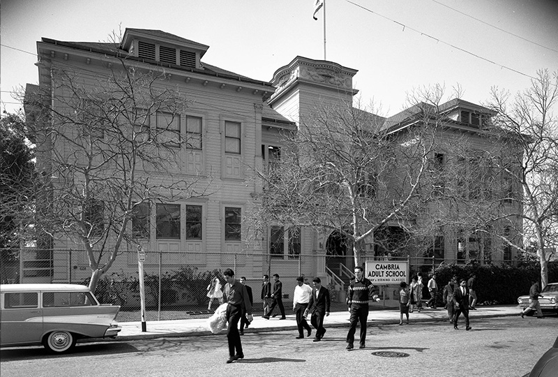 Students leaving Cambria adult school, 1964